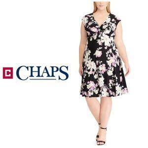 Plus Chaps Black Floral Empire Faux Wrap Dress 14W